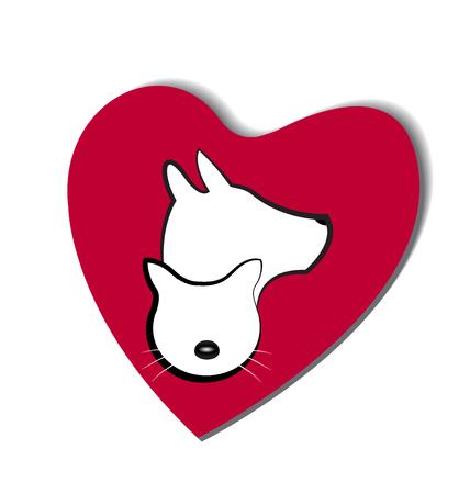 logo vector: Dog and cat love heart logo vector Illustration
