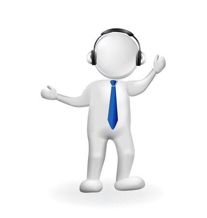 3D man muziek luisteren met een Bluetooth-hoofdtelefoon vector logo