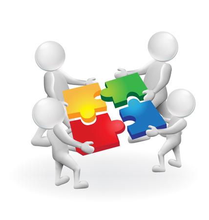 3d ludzie biali ludzie pracują razem, rozwiązanie logiczna koncepcja logo wektor