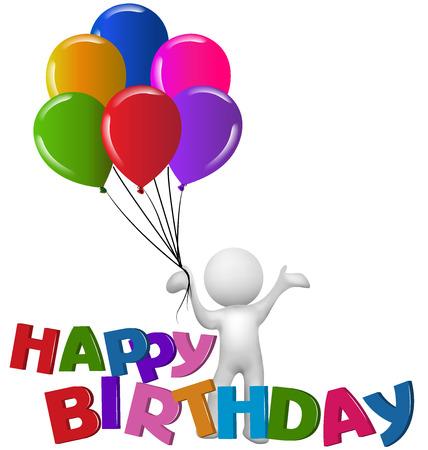 Happy Birthday 3D Mann mit Ballons Logo Vektor Bild