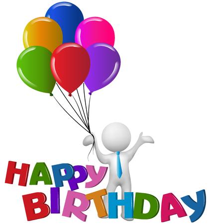 Happy birthday 3D man with balloons logo vector image Illustration