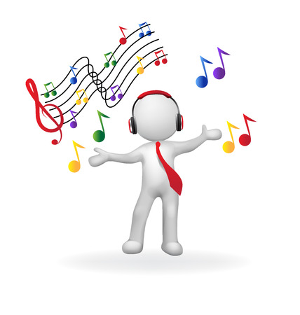 3D hombre con auriculares imagen del logotipo del vector escuchando música Foto de archivo - 70648084