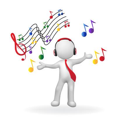 pentagramma musicale: 3D uomo con le cuffie immagine musica logo vettoriale ascolto Vettoriali