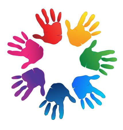 Handen kleurrijke vertegenwoordigen een gelukkige familie, liefde en ondersteuning symbool logo vector