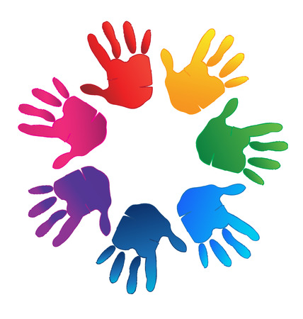 Hands colorful representing a happy family, love and support symbol logo vector Vectores