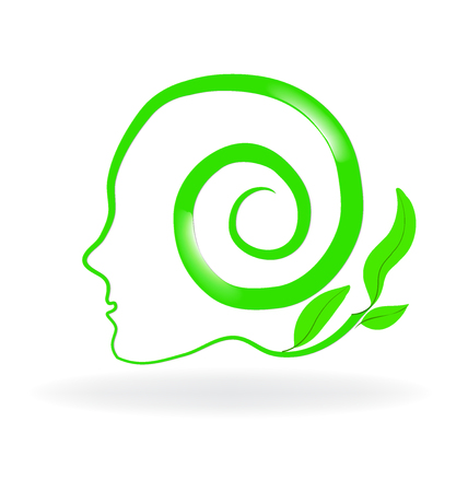 Healthy natural brain logo vector image