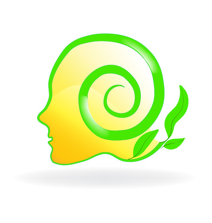 Healthy natural head brain logo vector image