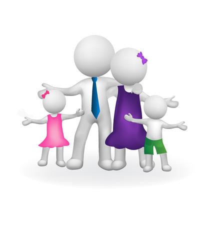 embraced: 3D Family union symbol vector image logo