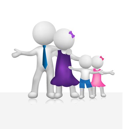 embraced: Lovely 3d family people vector image render logo template Illustration