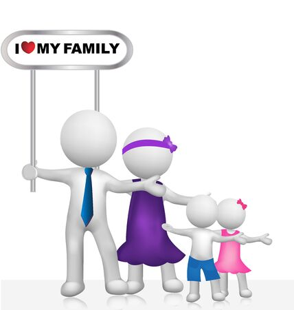 3d image: I Love my family vector image