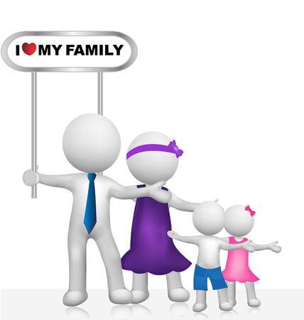family: I Love my family vector image