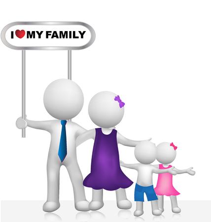 family: I Love my family 3d vector image