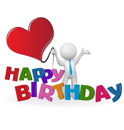 love image: Happy birthday word 3D man holding a heart love vector image logo template