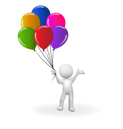 Happy 3D man with balloons vector image template logo