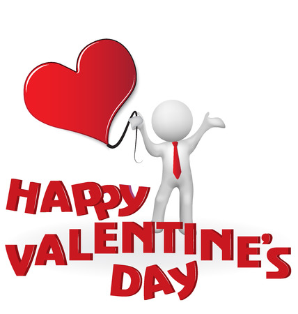 Happy valentines 3D man holding a heart love vector image logo template
