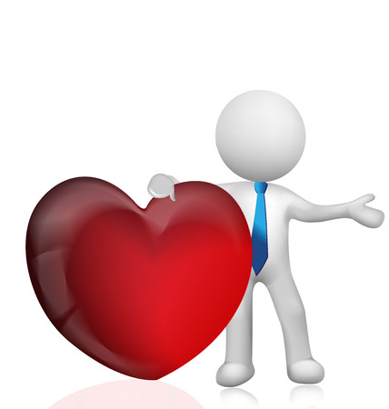 love image: 3D man holding a heart love vector image logo template