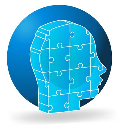 man profile: Vector 3d human head blue puzzle logo template
