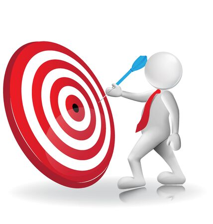 dart board: 3d man white people hit the red target with blue dart, isolated white background, 3d vector logo