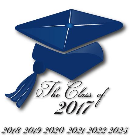 Chapeau d'obtention du diplôme pour la classe de carte de l'éducation image de conception de logo d'art icône vecteur modèle de l'école 2017,2018,2019,2020,2021,2022 Banque d'images - 71178314