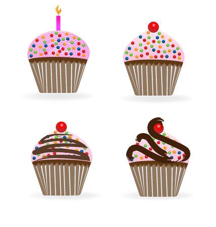 Cupcakes birthday anniversary set vector image logo