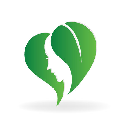 Woman face leafs heart shape logo vector image