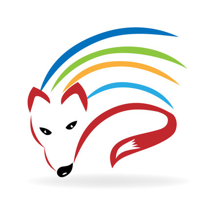 Fox colorful vector image design logo template Illustration