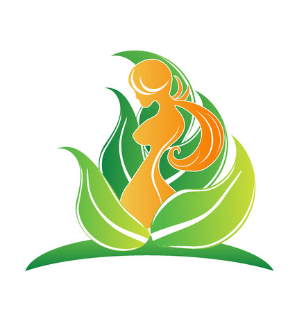 Beauty body girl with leafs symbol icon vector image logo Vettoriali