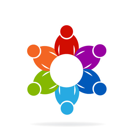 royalty free: Teamwork meeting people logo