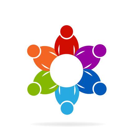 Travail d'équipe rencontre les gens logo Logo