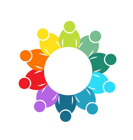 Teamwork diversity social media logo