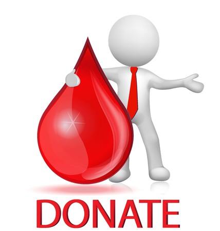 Blood drop donation and 3d man logo vector