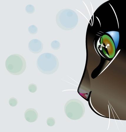 silueta de gato: Gato ojos verdes vector logo Vectores