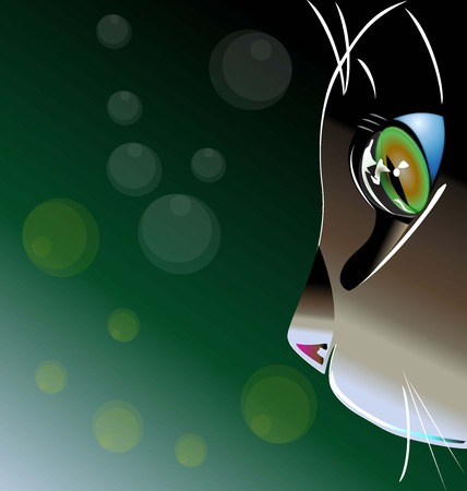 Beautiful cat face logo vector