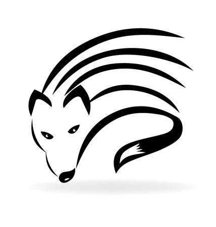 Fox silhouette vector image design logo template