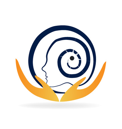 Brain mental care vector design logo