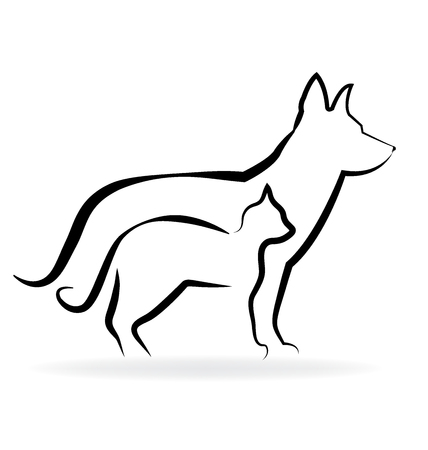 wścieklizna: Cat and dog silhouette vector icon logo template