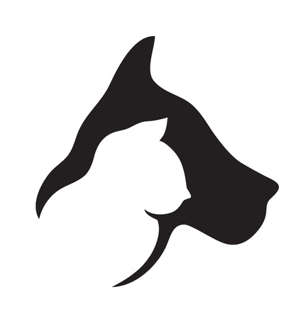 Cat  and dog head silhouettes logo vector