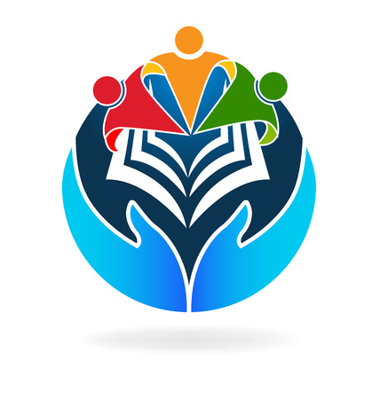 Book teamwork education hands protecting logo vector icon Illustration