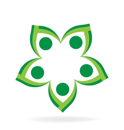 Teamwork Blume, die Hände Vektor-Icon-Design halten
