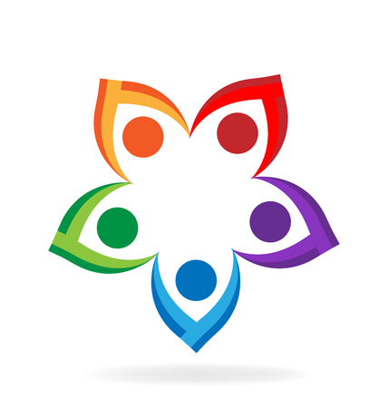 Teamwork flower people holding hands vector icon design Illustration