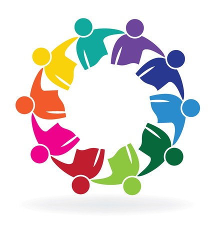 Teamwork meeting business people logo vector