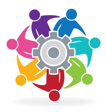 Teamwork meeting business people with gear solution logo vector Illustration