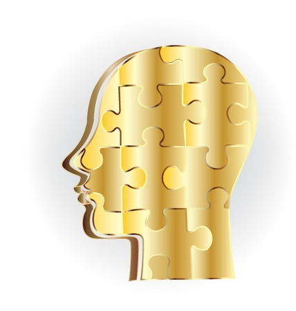 business woman: Gold human head puzzle  logo vector Illustration