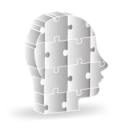 Vector 3d icon human head gray puzzle logo template Illustration