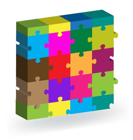 square shape: Vector 3D puzzle square shape
