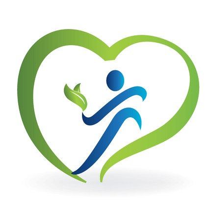 Health nature heart logo vector image