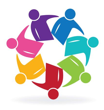 rainbow abstract: Teamwork meeting business people logo vector