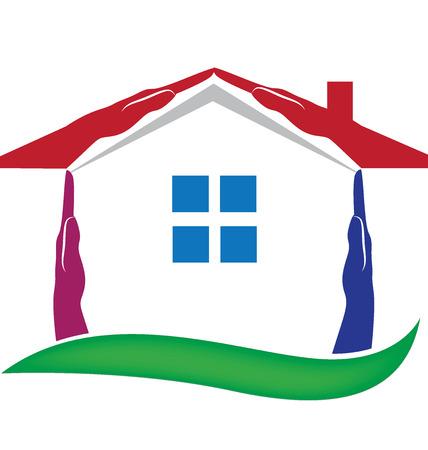 logo home: House hands for real estate logo vector Illustration