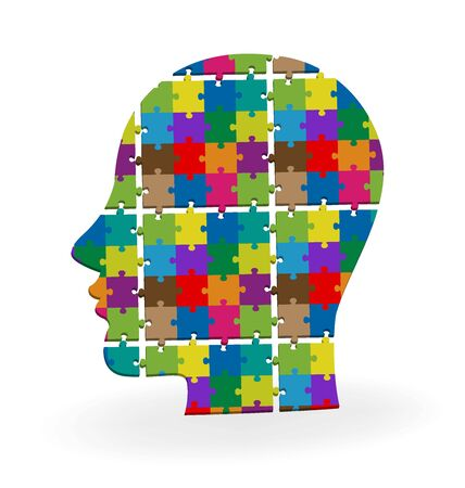 piece: Vector 3d human head colorful puzzle logo template