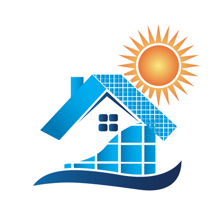 home icon: House with solar panels logo vector design